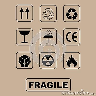 Packande set symboler