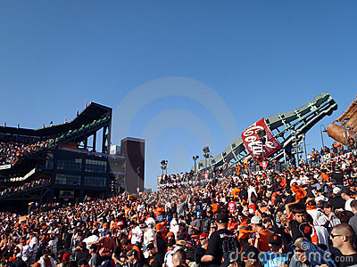 Packed bleacher section with fans of AT&T Park Editorial Image
