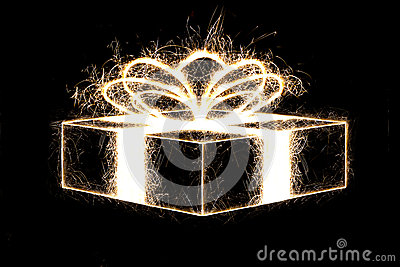 Packed gift by sparkler style.