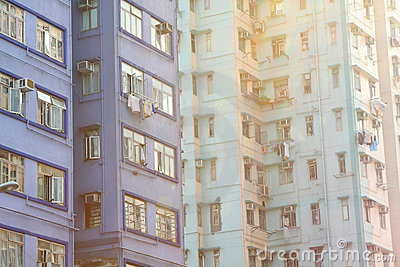 Packed Hong Kong public housing with sunlight