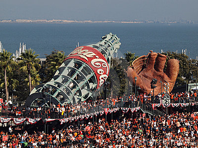 Packed house  AT&T park fans standing everywhere Editorial Image
