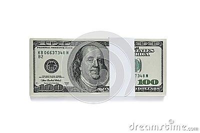 Packed one hundred dollar bills  on white