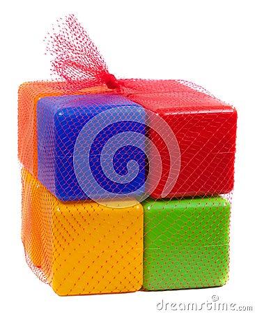Packed plastic toy blocks