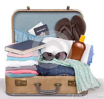 Packed Vintage Suitcase Stock Photos - Image: 25122093