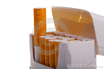 A packet of cigarettes in close-up