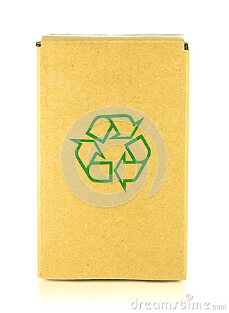 Packing box with recycle symbol