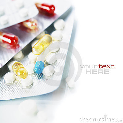 Packs of different pills Stock Photo