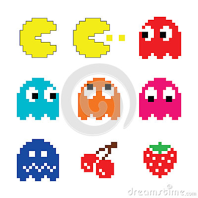 Pacman and ghosts 80 s computer game icons set