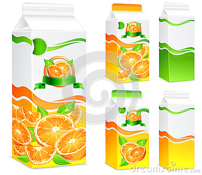 Pacotes para o sumo de laranja