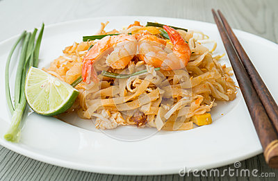 Pad Thai, stir-fried rice noodles with shrimps