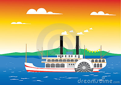 Paddle steamer on the river