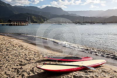 Paddleboards, Hanalei Bay, Kauai, Hawaii