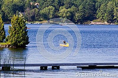 Paddling a canoe