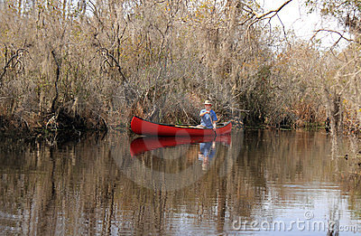 Paddling a Canoe in the Okefenokee Swamp, Georgia