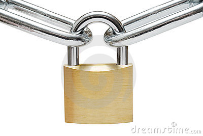 Padlock on Chain Links
