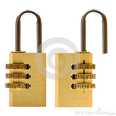 Padlock (closed & open) isolated on white