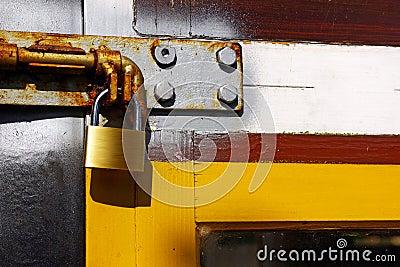 Padlock in door
