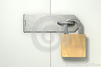 Padlock And Hasp Locked Front