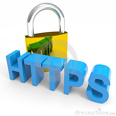 Padlock and HTTPS word. Internet safety concept.
