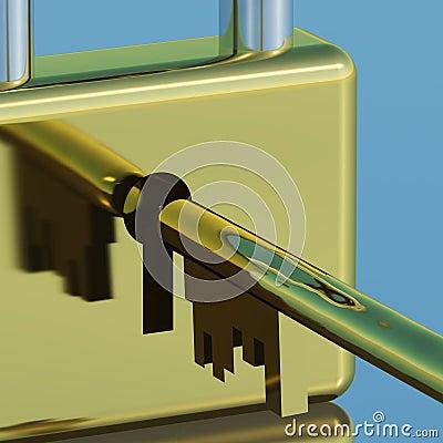 Padlock With Key Closeup Showing Security