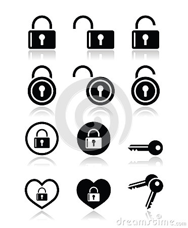 Padlock, key  icons set