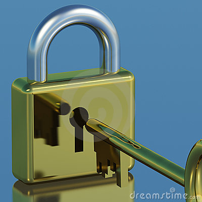 Padlock With Key Showing Security