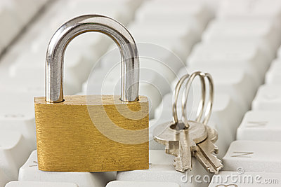 Padlock with a keys on  keyboard