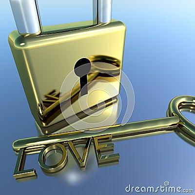 Padlock With Love Key Showing Romance