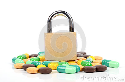 Padlock and medicine