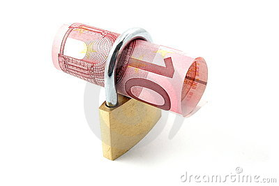 Padlock with money