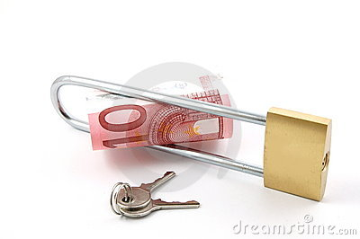 Padlock with money
