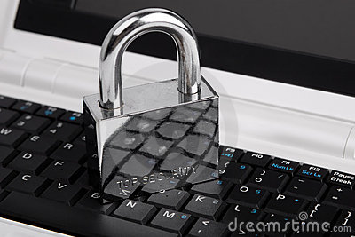 The padlock on the notebook keyboard