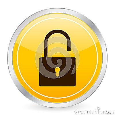 Padlock open yellow circle ico