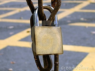 Padlock on a Rusty Chain