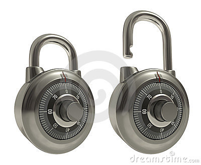 Padlocks Over White