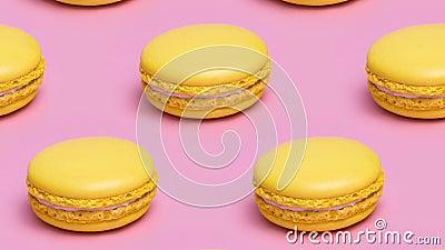 Padrão com cookies macaron amarelos em um fundo cor-de-rosa vídeos de arquivo