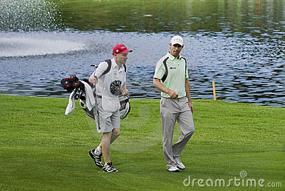 Padraig Harrington & Caddie Editorial Photo