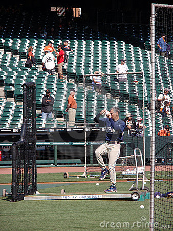 Padres Manager Bud Black lifts leg to throws pitch Editorial Photography