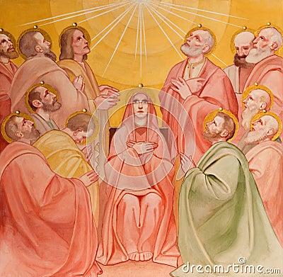 Free PADUA, ITALY - SEPTEMBER 9, 2014: The Fresco Of The Pentecost Scene In Church Basilica Del Carmine Royalty Free Stock Photography - 45180167