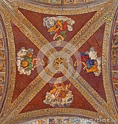Free Padua - The Ceiling Fresco In Church San Francesco Del Grande With The Four Evangelist In Chapel Santa Maria Della Carita Royalty Free Stock Photography - 45198277