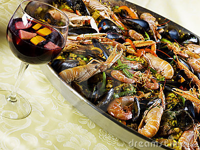 Paella in a Paella Pan and sangria