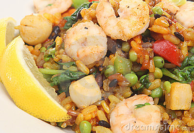 Paella with Prawns, Shrimp & Scallops