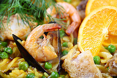 Paella scampi seafood mussels