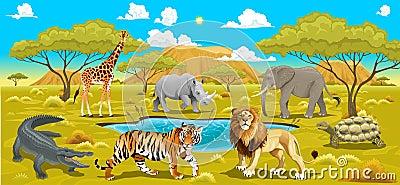 Paesaggio africano con gli animali