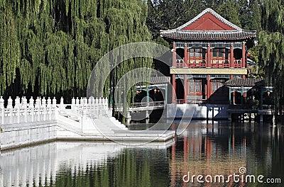 Paesaggio antico del giardino della Cina