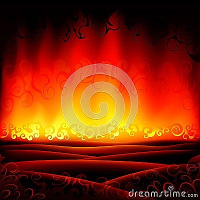 Paesaggio burning fantastico di inferno (altri paesaggi sono nella mia ...