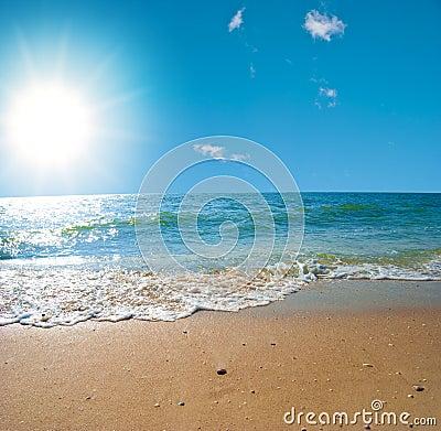 Paesaggio del mare di estate con il cielo solare immagini for Disegni di paesaggi di mare