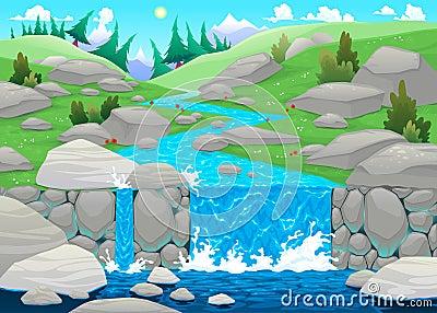 Paesaggio della montagna con il fiume.