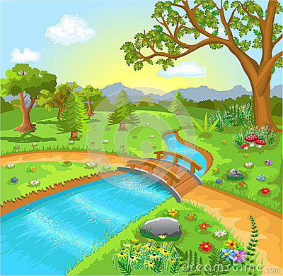 Paesaggio della natura con la molla di acqua