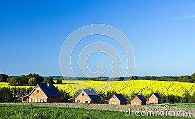 Paesaggio delle case di campagna fotografie stock for Fotografie di case